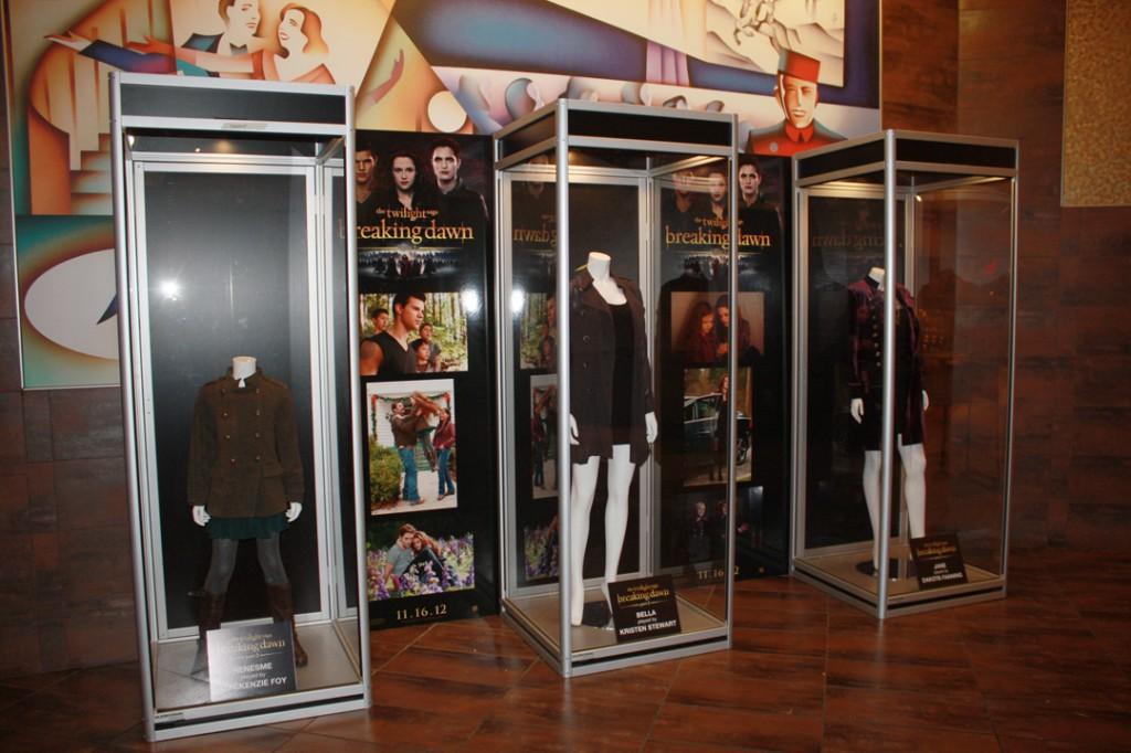 At the Cinemark in Plano, Texas featuring costumes worn by MacKenzie Foy. Kristin Stewart Dakota Fanning.