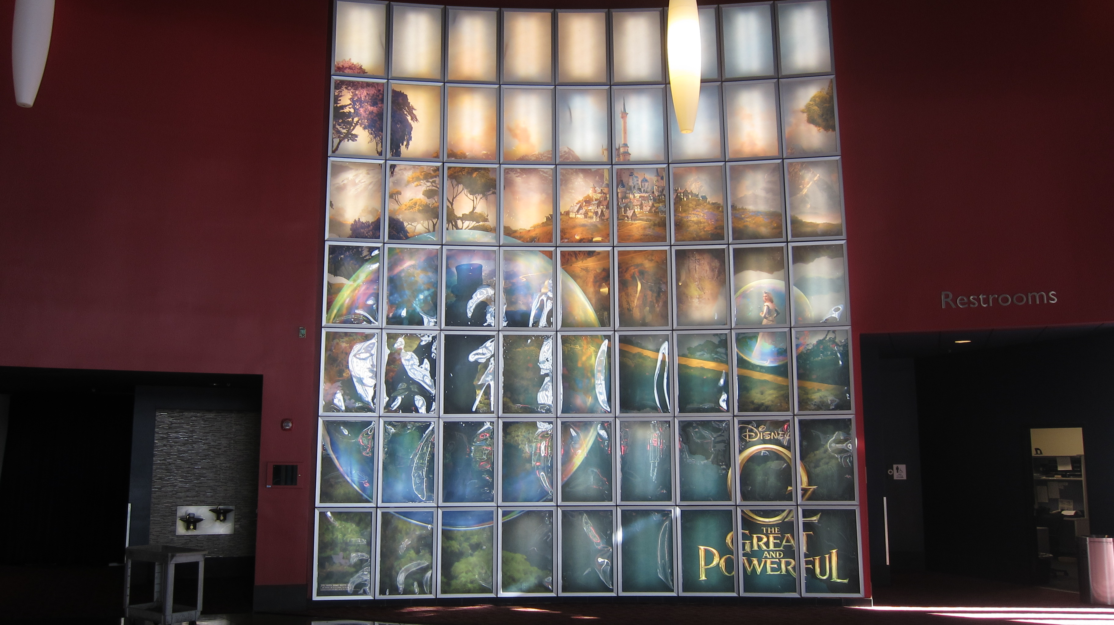Giant backlit wall for Disney's OZ THE GREAT AND POWERFUL at the ArcLight Beach Cities.
