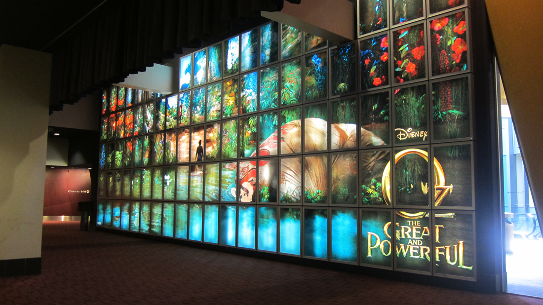Giant backlit wall for Disney's OZ THE GREAT AND POWERFUL at the ArcLight Sherman Oaks.