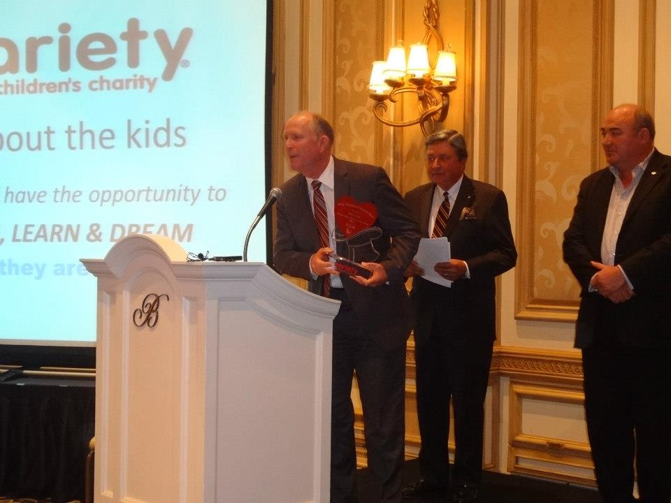 Rick Olson, President of Olson Visual, accepting the 2013 Variety International Corporate Award.