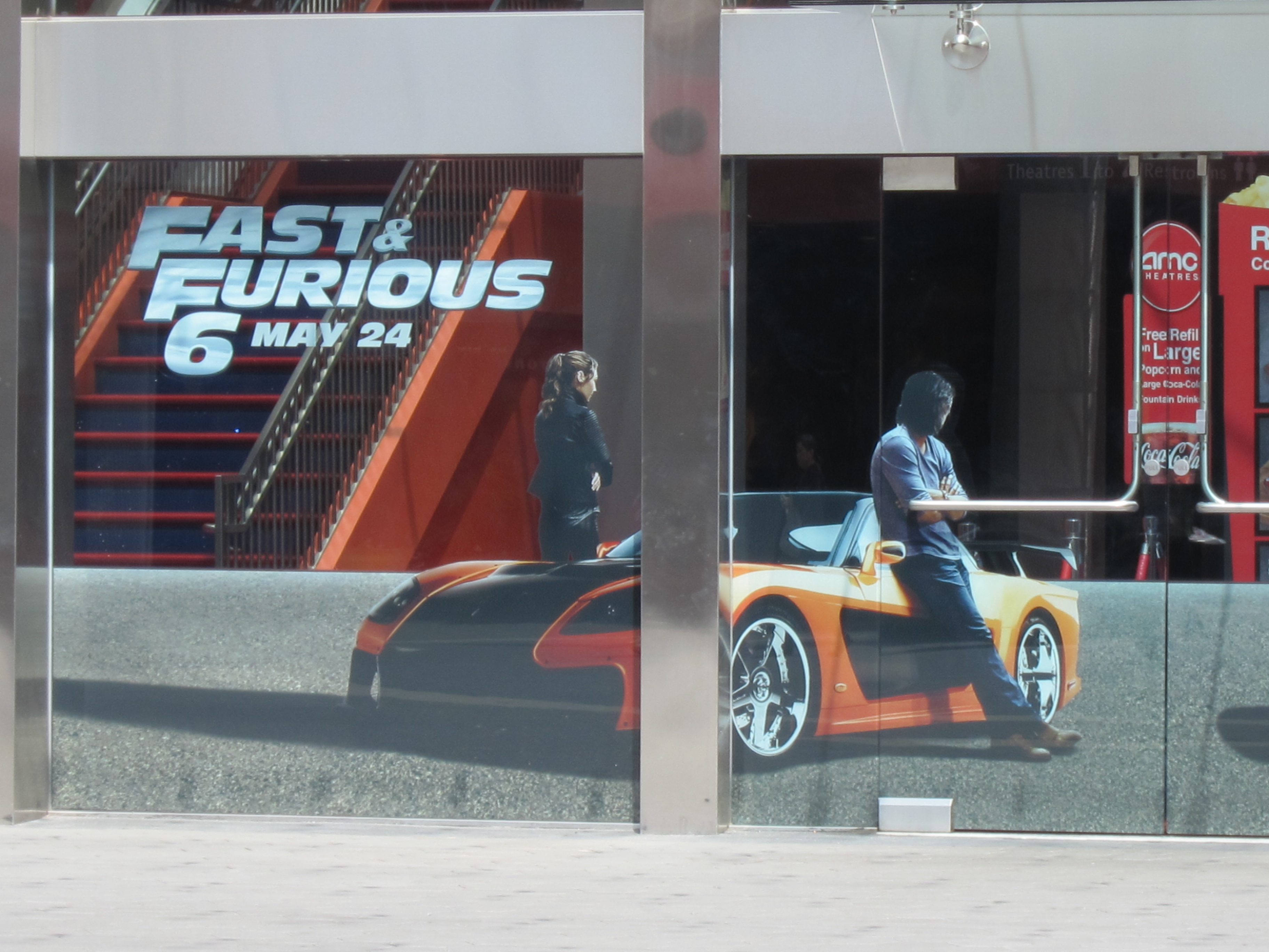 FAST AND FURIOUS 6 lifelike front window graphics at the AMC Universal CityWalk Cinemas in Southern California.