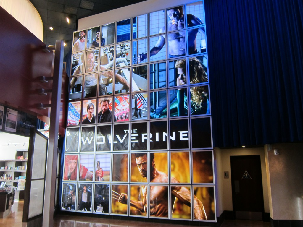 """""""THE WOLVERINE"""" giant backlit wall at the ArcLight La Jolla."""