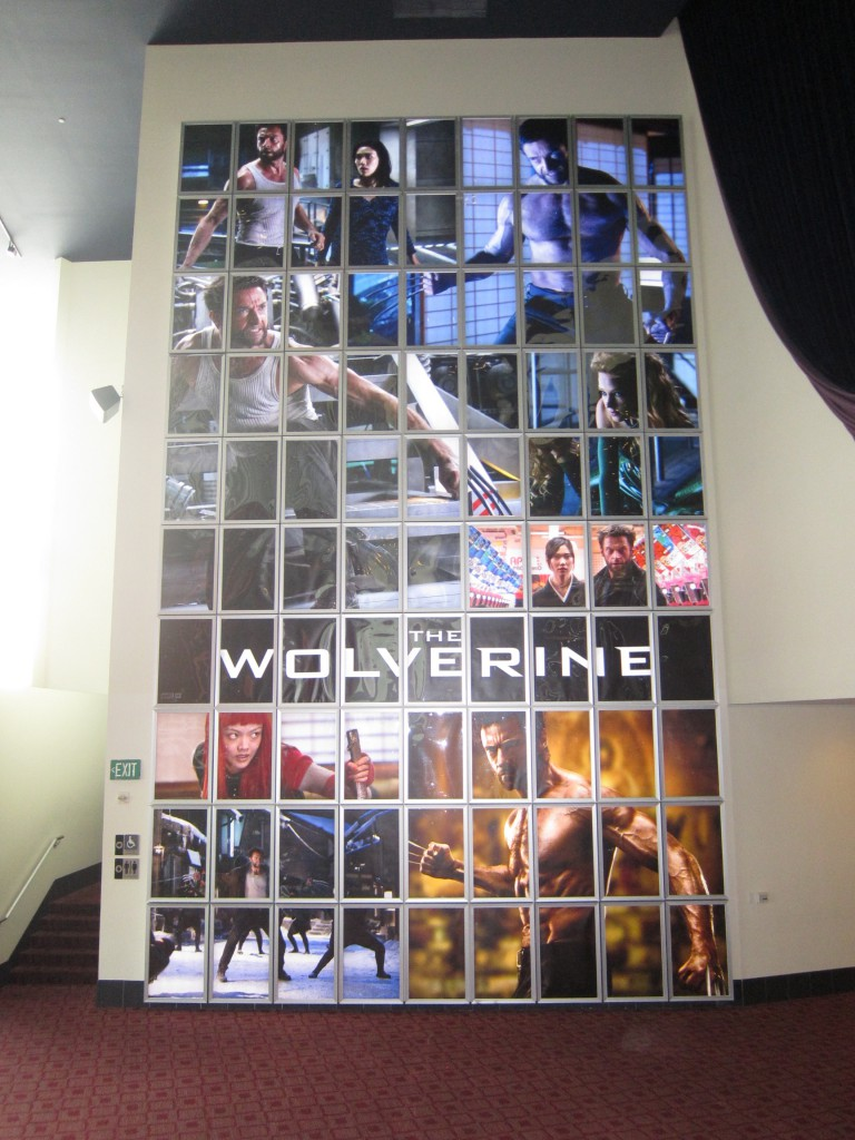"""""""THE WOLVERINE"""" giant backlit wall at the ArcLight Hollywood."""