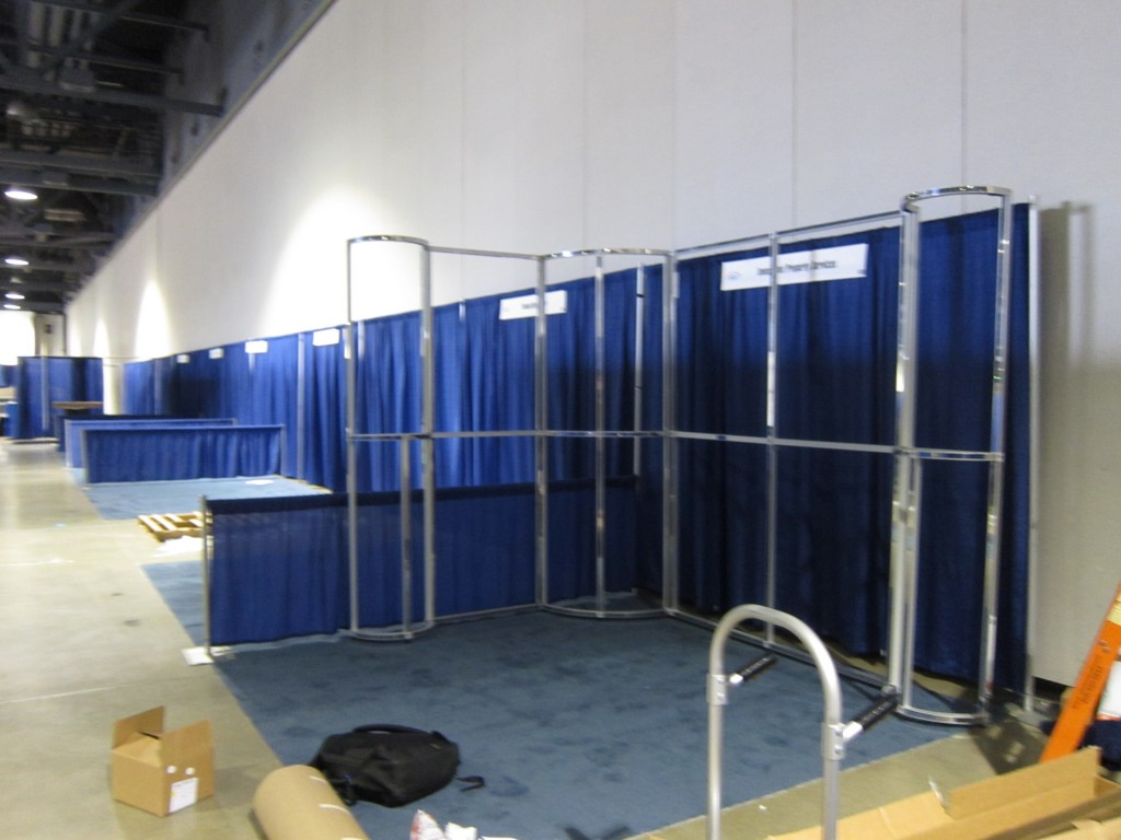 The T3 framing system before graphics are installed.
