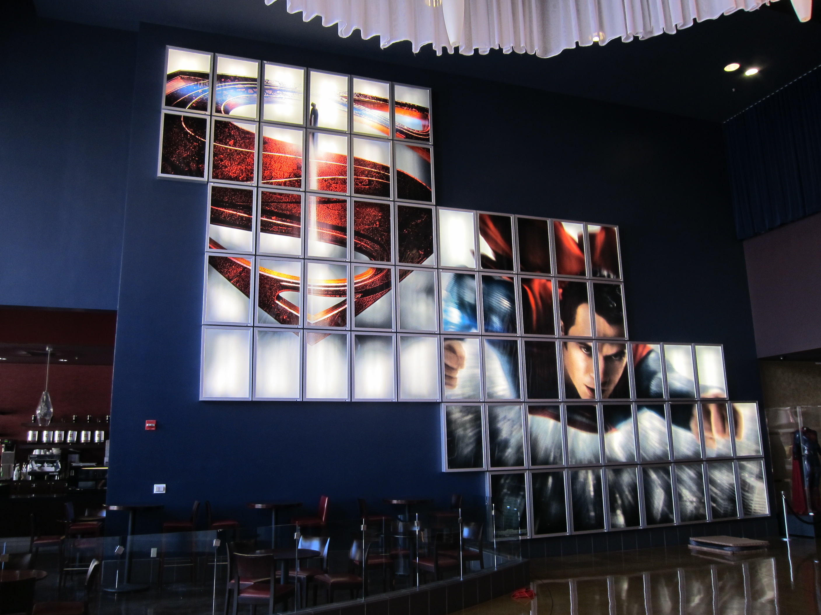 MAN OF STEEL giant backlit wall display at the ArcLight Pasadena.