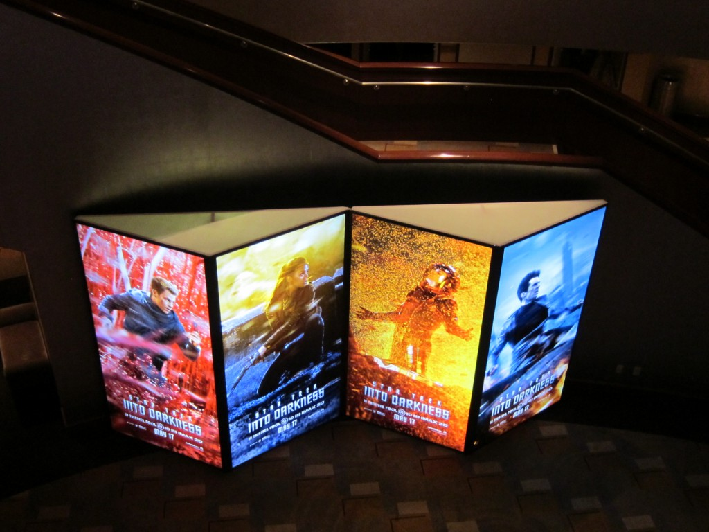 STAR TREK INTO DARKNESS 4 sided backlit cube reconfigured into accordion shape for the film's premiere at the Dolby Theatre in Hollywood..