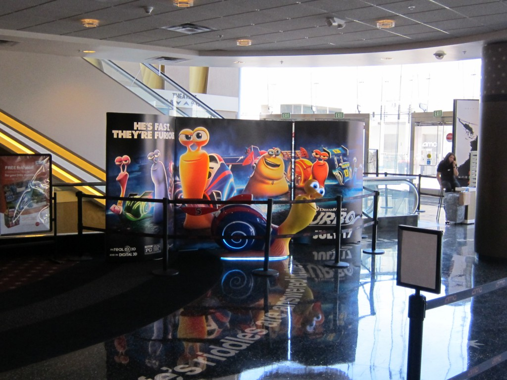 Fox's EPIC two sided & backlit display was easily reconfigured and reskinned for  Dreamworks Animation's TURBO display using the T3  system at the AMC Century 15 Theatre in Southern California.