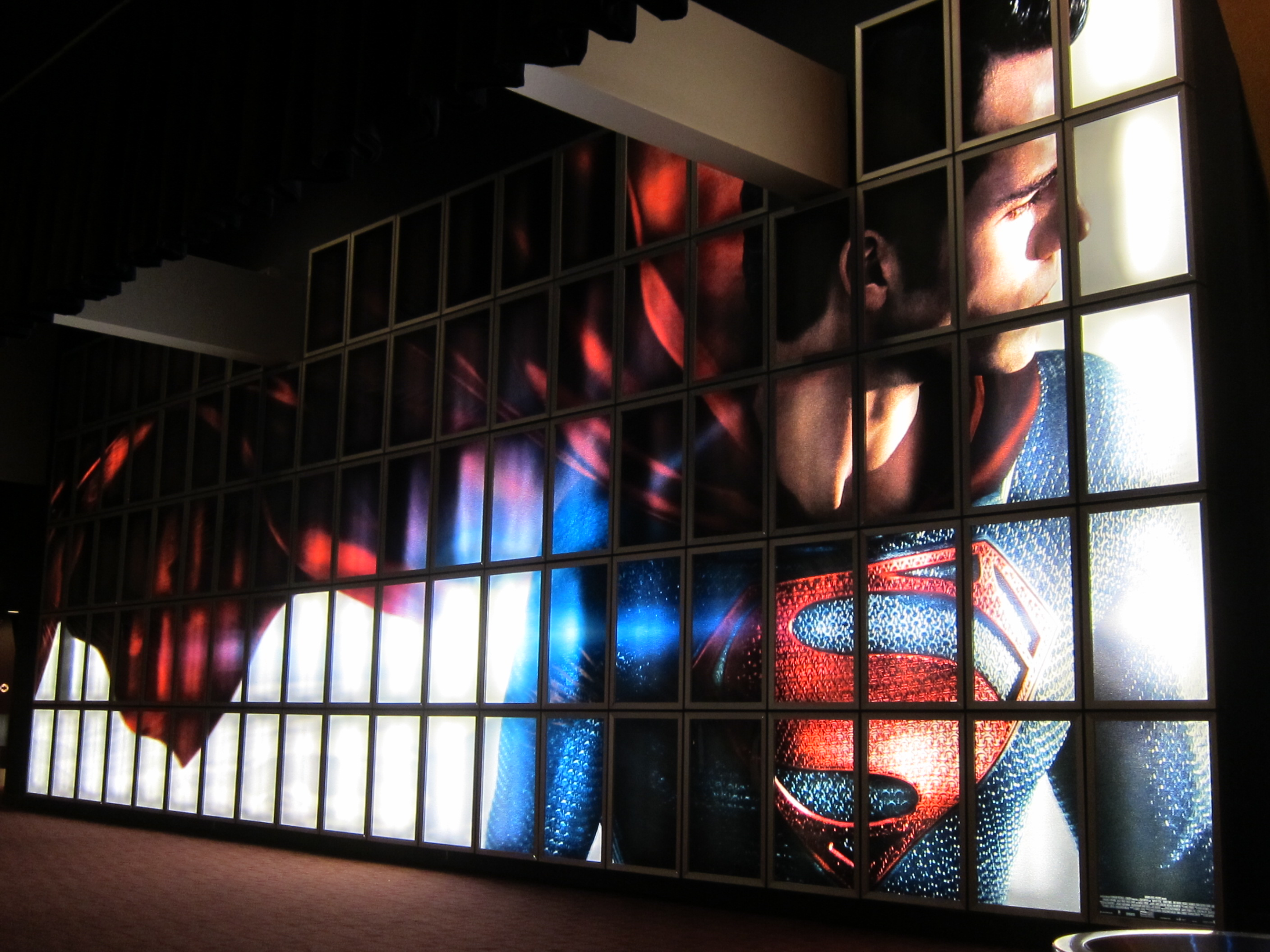 MAN OF STEEL backlit wall display at the ArcLight Sherman Oaks.