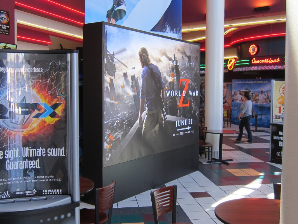 Paramount's WORLD WAR Z 10ft wide x 9ft high display using the T3 framing system in a Northern California theatre lobby.