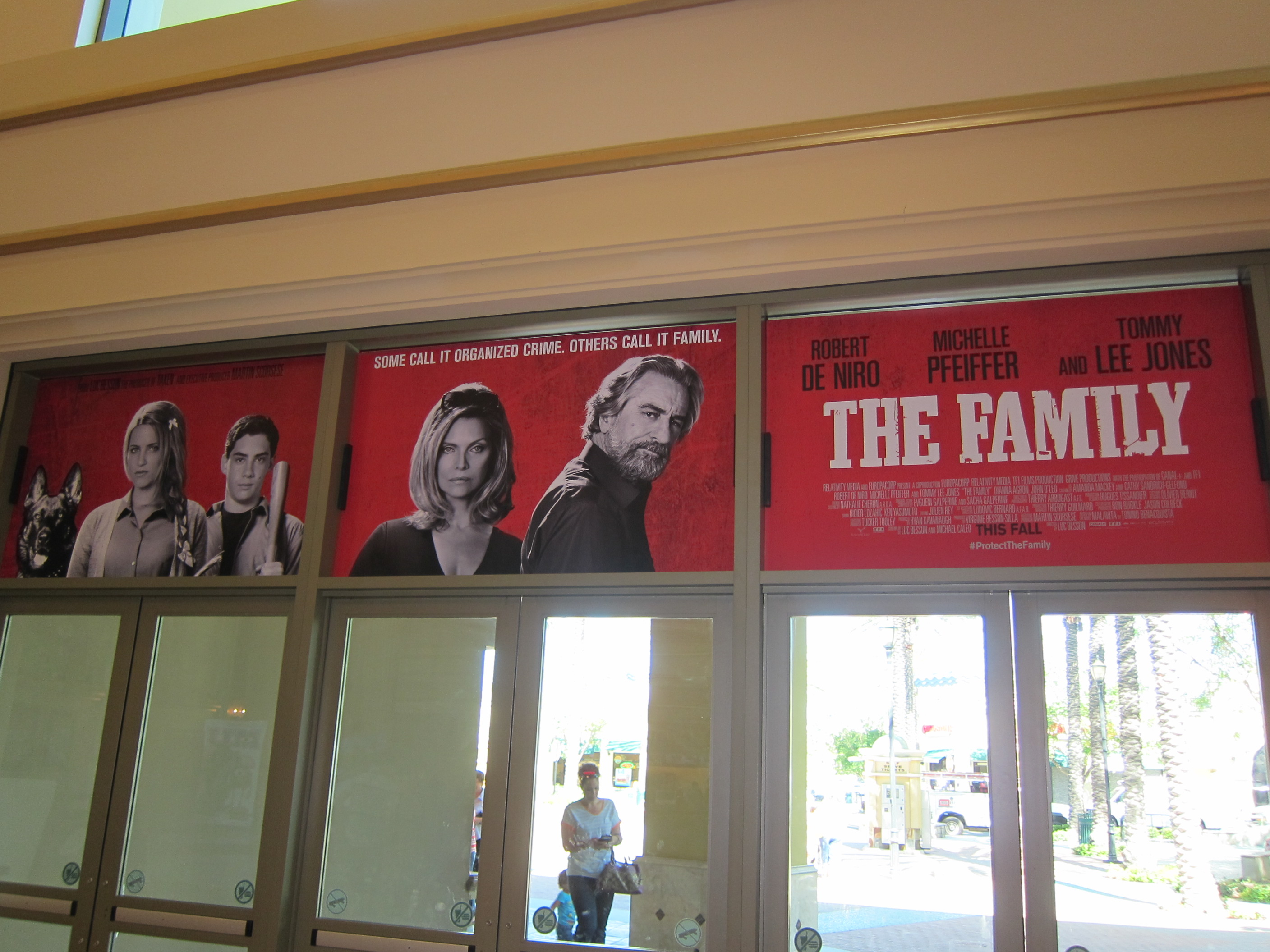THE FAMILY above the lobby front doors of the Vista Theatre in Southern California.