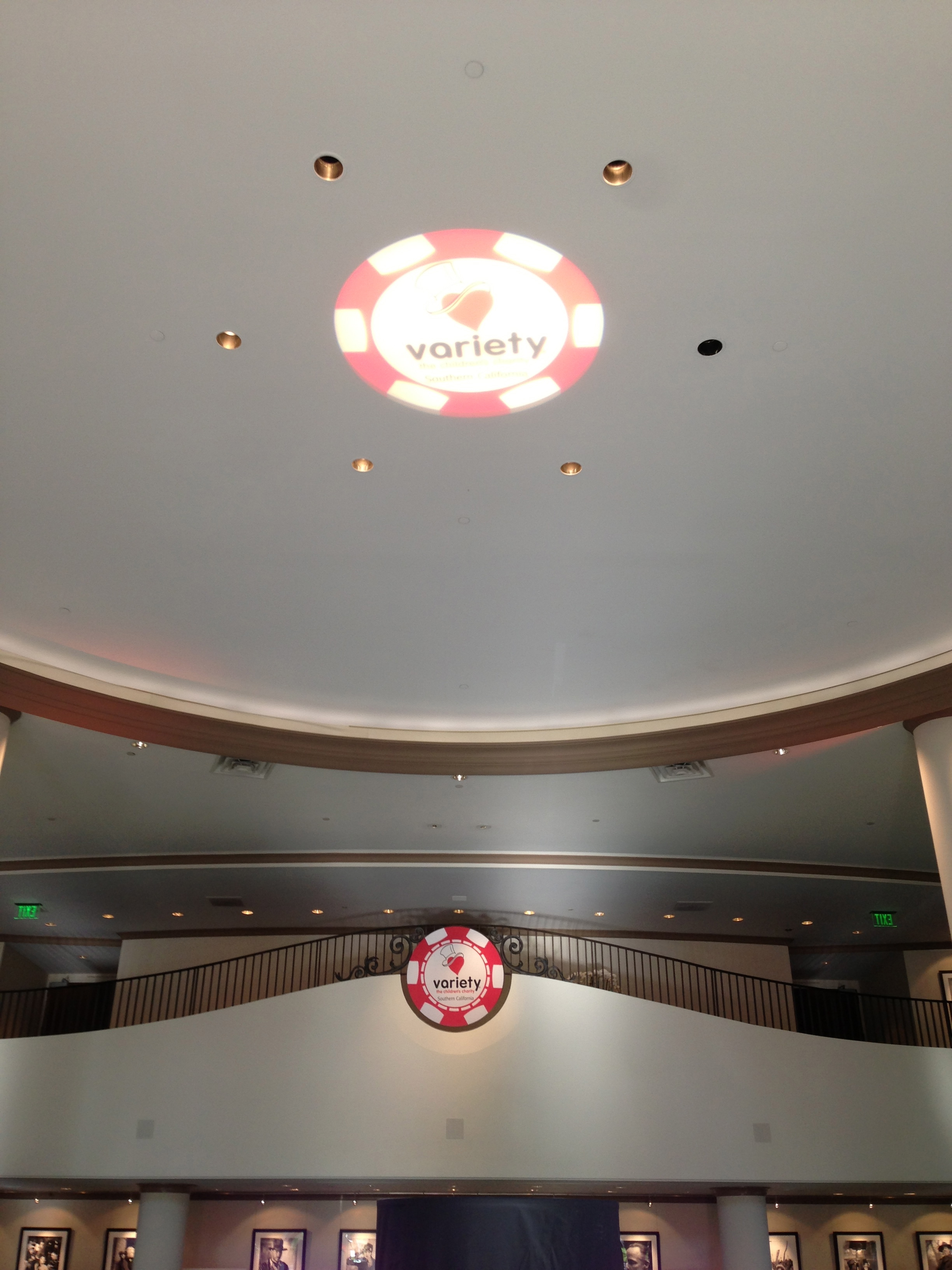 Olson Visual supplied the gobo light projection of the Variety Poker Night logo on the ceiling and the official logo emblem below it.