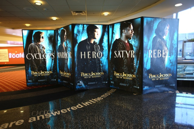 The PERCY JACKSON display utilizes the T3 framing system to create 9 ft high double sided backlit panels.