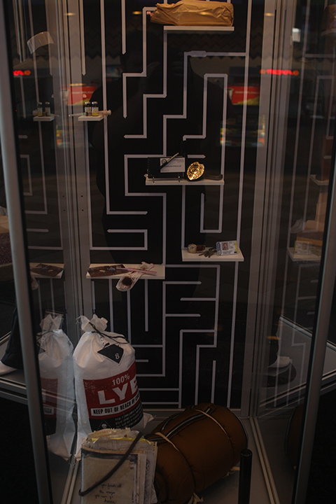 Closer look at the prop display for PRISONERS at the Regal LA Live.