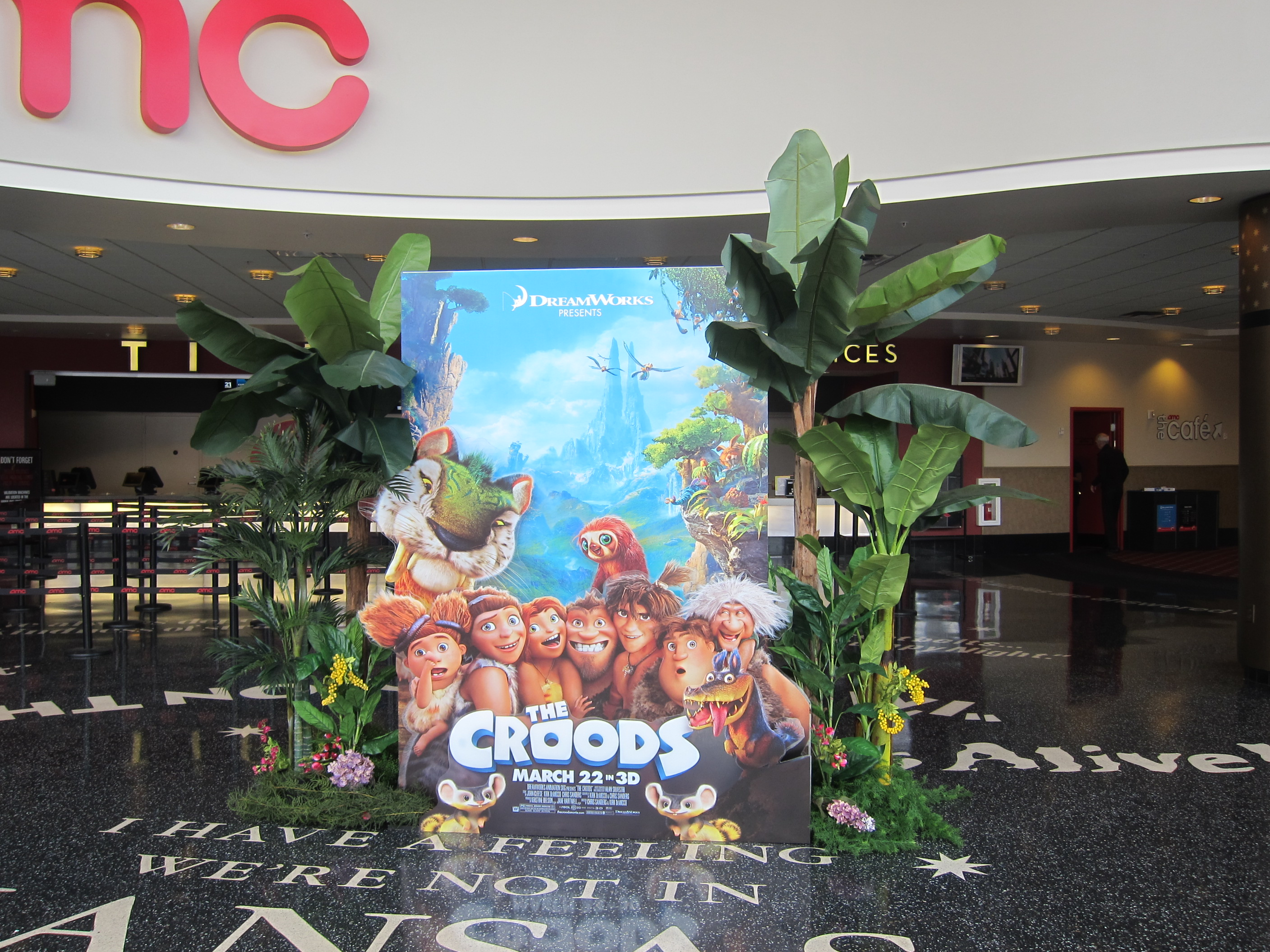 THE CROODS display consists of multiple layers of graphics printed on clear plexi and framed by the T3 system.
