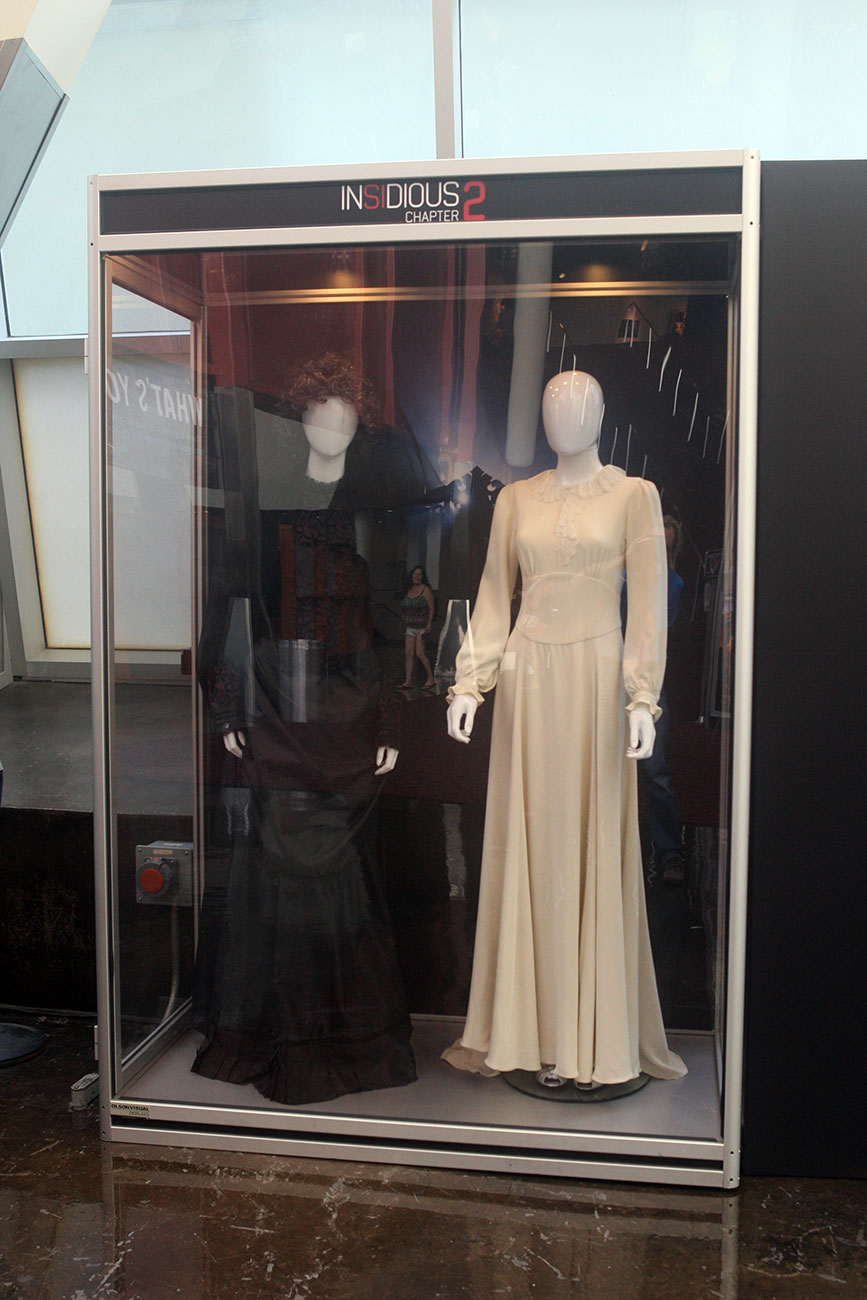 A closer look at the costumes used in the filming of Film District's INSIDIOUS: CHAPTER 2 on display at the ArcLight Hollywood.