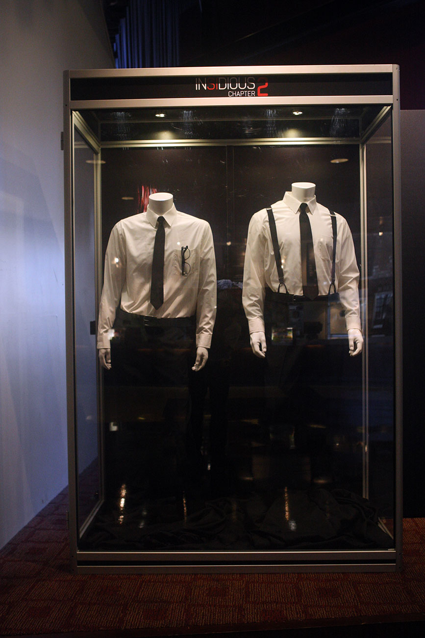 Costumes worn by the characters Specs and Tucker are part of the costume & prop exhibit on display at the ArcLight Pasadena.