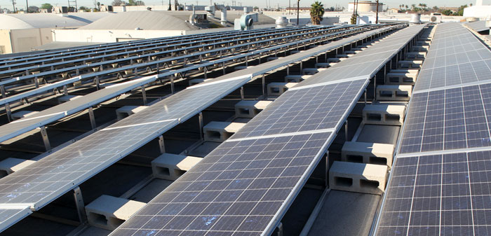 Solar panels being installed at Olson Visual in Hawthorne, California.