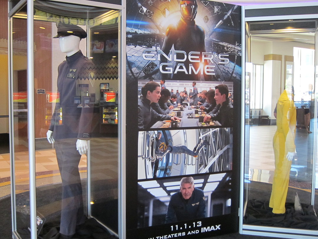 ENDER'S GAME costume exhibit from another angle at the Regal LA Live Theatre in Los Angeles.