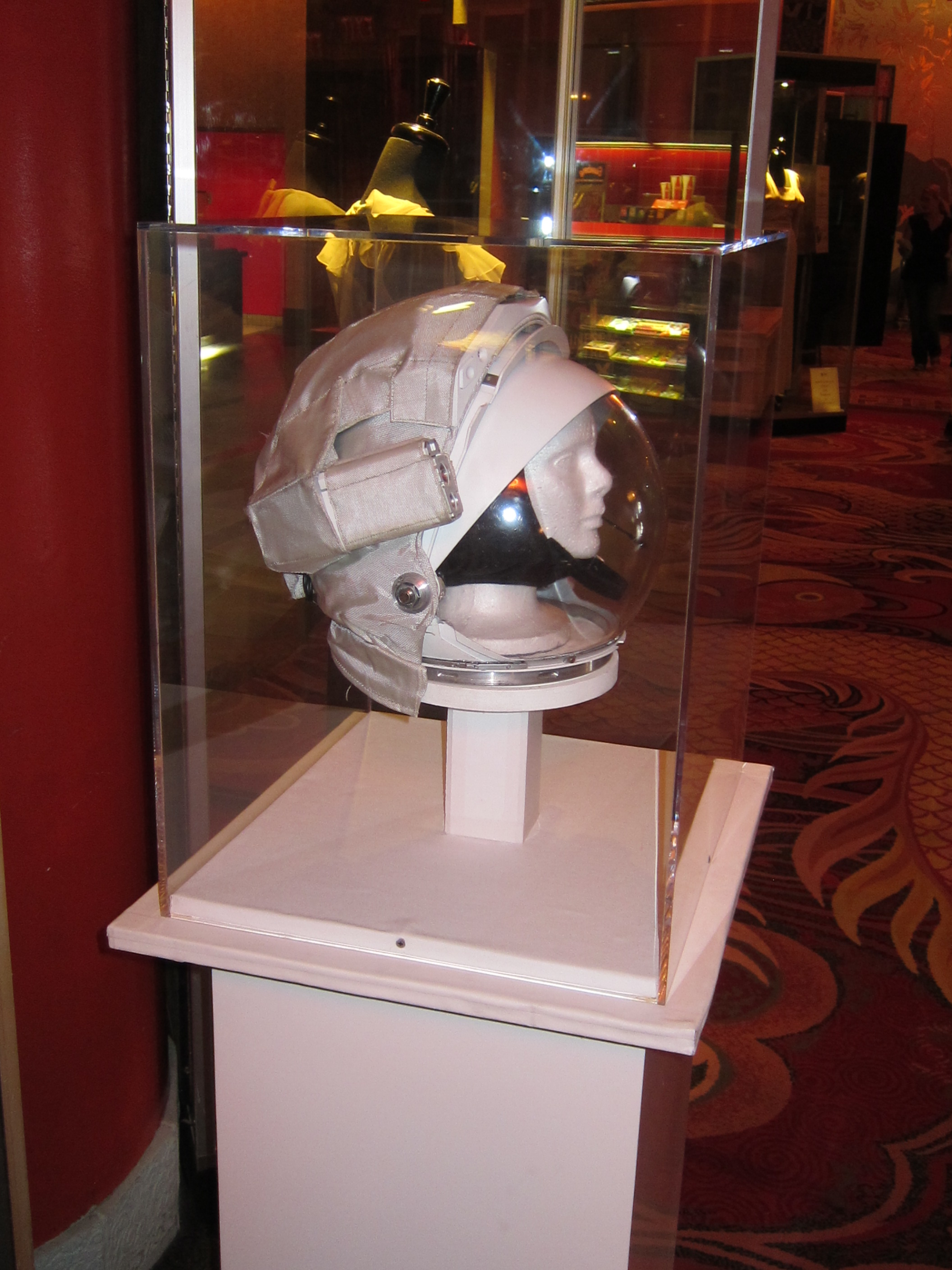 A space helmet worn by Sandra Bullock in the making of GRAVITY.