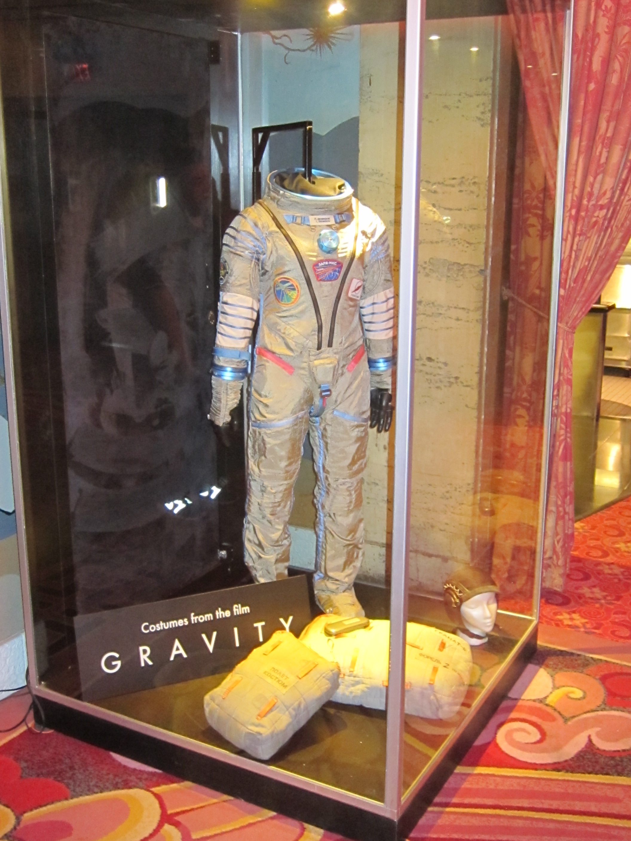 Sandra Bullock's space suit  with some props used in the making of GRAVITY.