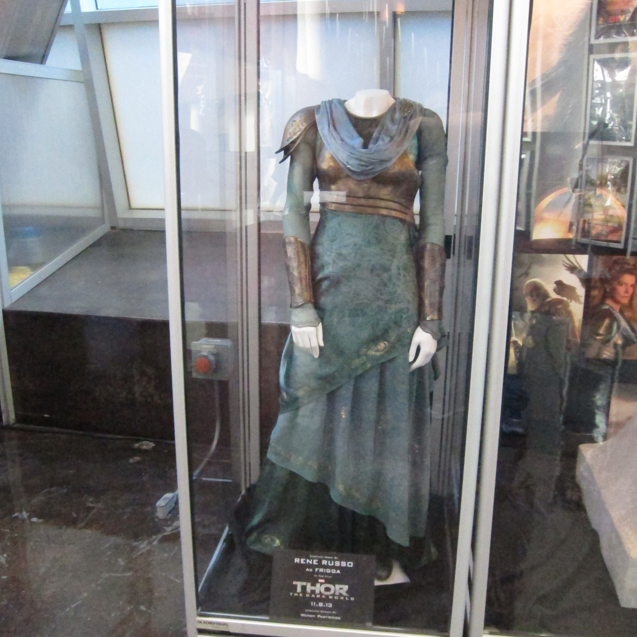A costume worn by Rene Russo in THOR;  THE DARK WORLD at the ArcLight Hollywood.