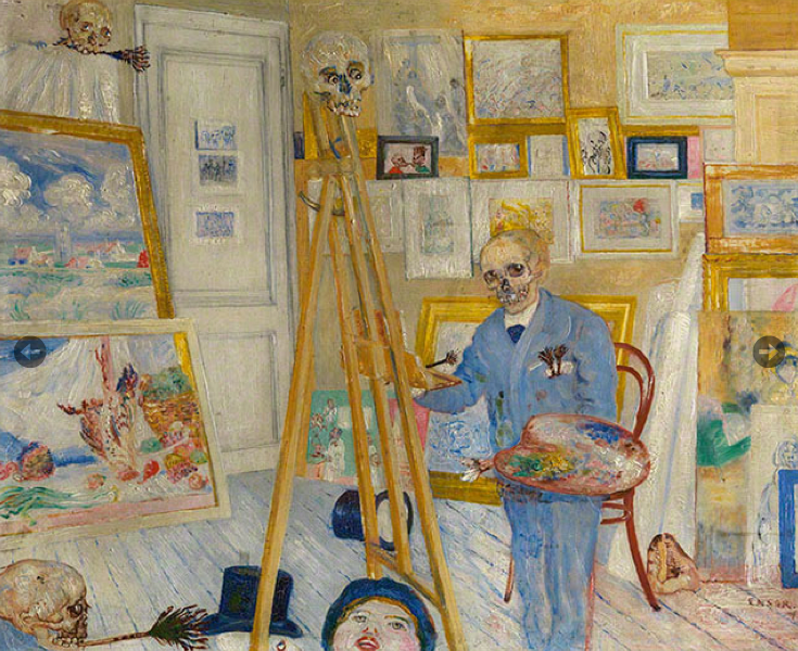 The Skeleton Painter, about 1896, James Ensor, oil on panel. Royal Museum of Fine Arts Antwerp. Image © Lukas-Art in Flanders, vzw. Photo Hugo Maertens. Artwork © 2014 Artists Rights Society (ARS), New York / SABAM, Brussels Courtesy of Getty